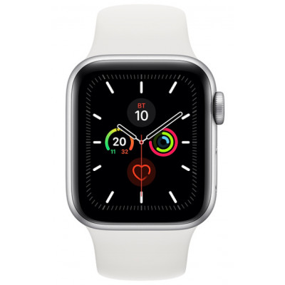 Apple Watch Series 5 (GPS) 44mm Silver Aluminium Case with White Sport Band (MWVD2)