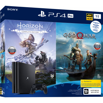 Sony PlayStation 4 Pro (PS4 Pro) 1TB Black (CUH-7208B) Bundle + God Of War + Horizon Zero Dawn. Complete Edition