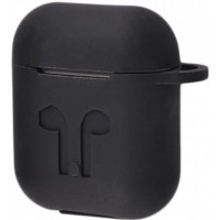 Чехол Silicone Case Apple AirPods Black + Карабин