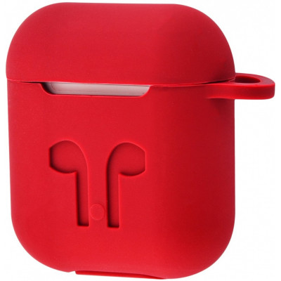 Чехол Silicone Case Apple AirPods Red + Карабин