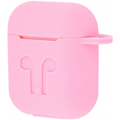 Чехол Silicone Case Apple AirPods Ligth Pink + Карабин