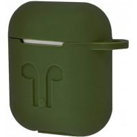 Чехол Silicone Case Apple AirPods Green + Карабин