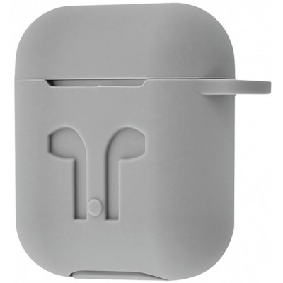 Чехол Silicone Case Apple AirPods Grey + Карабин