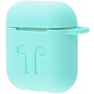 Чехол Silicone Case Apple AirPods Turquo + Карабин