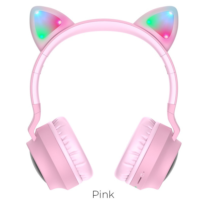 Бездротові навушники HOCO Cheerful Cat ear W27 Pink