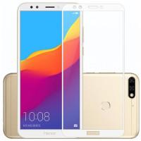 Защитное стекло Huawei Y7 2018 5D White (Полный клей)