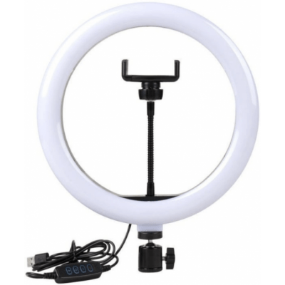 Кольцевая LED лампа 33 см, с держателем для смартфона