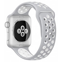 Ремешок для Apple Watch Silicone Nike Design 42/44mm White/Silver