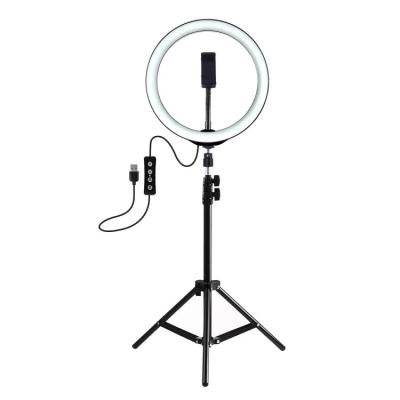 Кольцевая LED лампа 26 см, с держателем для смартфона с треногой настольная + штатив