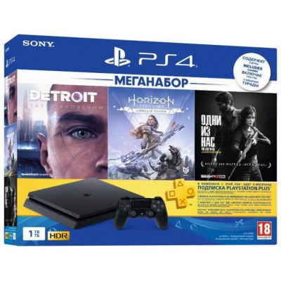 Sony PlayStation 4 Slim (PS4 Slim) 1TB Black + 3игры + подписка