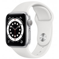 Apple Watch Series 6 (GPS) 44mm Silver Aluminium Case with White Sport Band (M00D3)