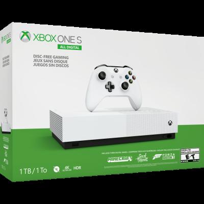 Microsoft Xbox One S 1Tb All-Digital Edition + 3 игры (Forza Horizon 3, Sea of Thieves и Minecraft)