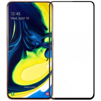 Защитное стекло Samsung A80/A90 5D Black (Полный клей)