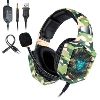 Игровые наушники ONIKUMA Gaming with LED K8 Camouflage-Green